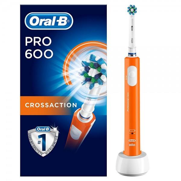 Braun oral-b pro 600 crossaction naranja cepillo de dientes eléctrico recargable con tecnología 3d