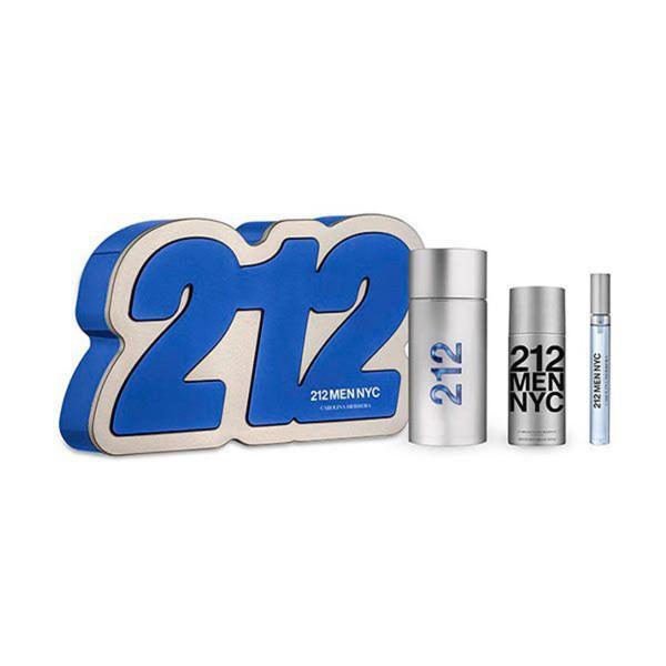 Carolina herrera 212 men eau de toilette 100ml vaporizador + after shave gel 100ml + miniatura