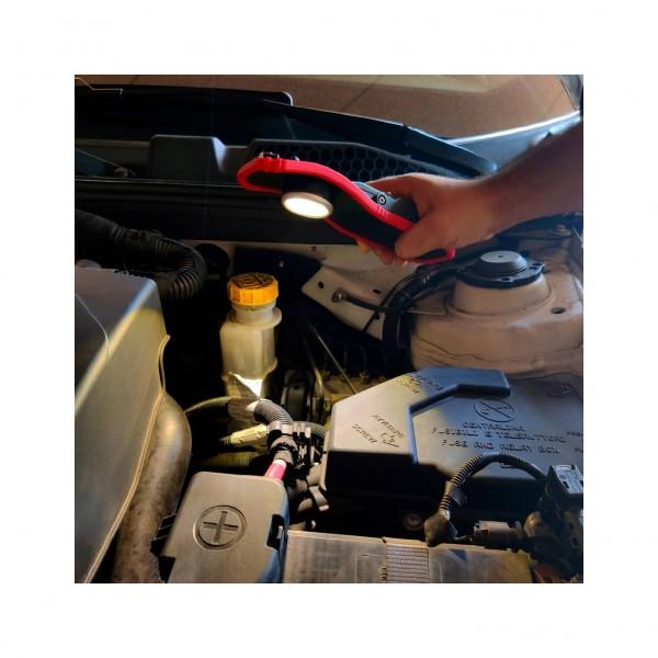 Lampara LED COB Recargable USB con Protección para Polvo 1800 Lumen 2 Intensidades con Base Magnética Rotativa de 180º y Gancho